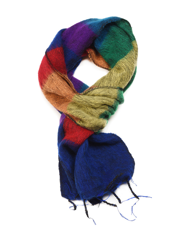 Brushed Woven Striped Scarf in Rainbow