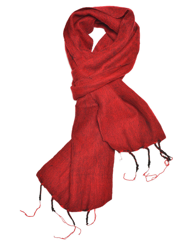 Brushed Woven Scarf in Red