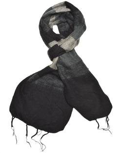 Brushed Woven Striped Scarf in Black