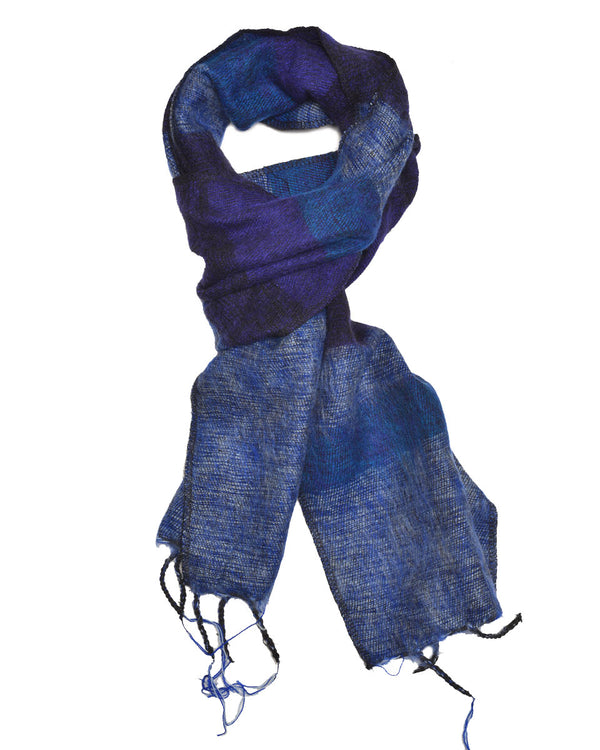 Brushed Woven Striped Scarf in Blue