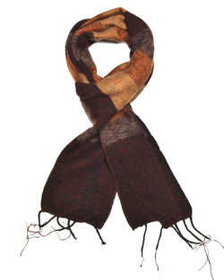 Brushed Woven Striped Scarf in Brown