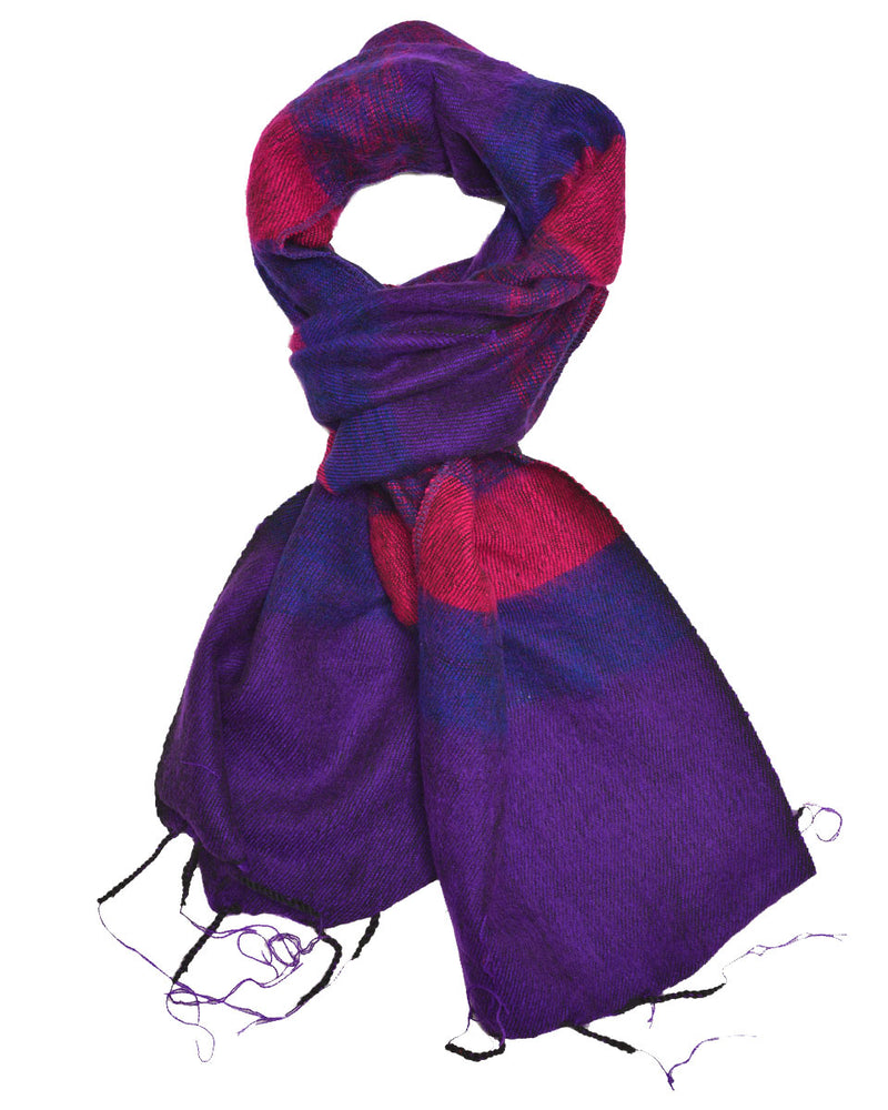 Brushed Woven Striped Scarf in Purple