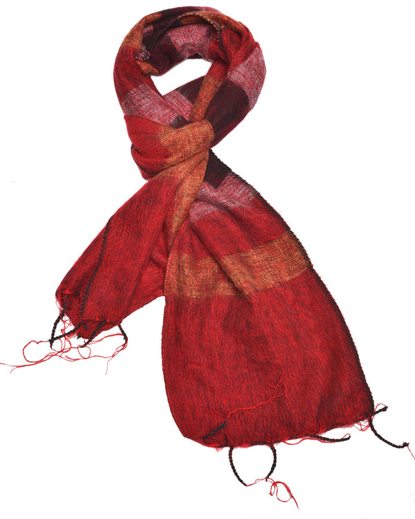 Brushed Woven Striped Scarf in Red