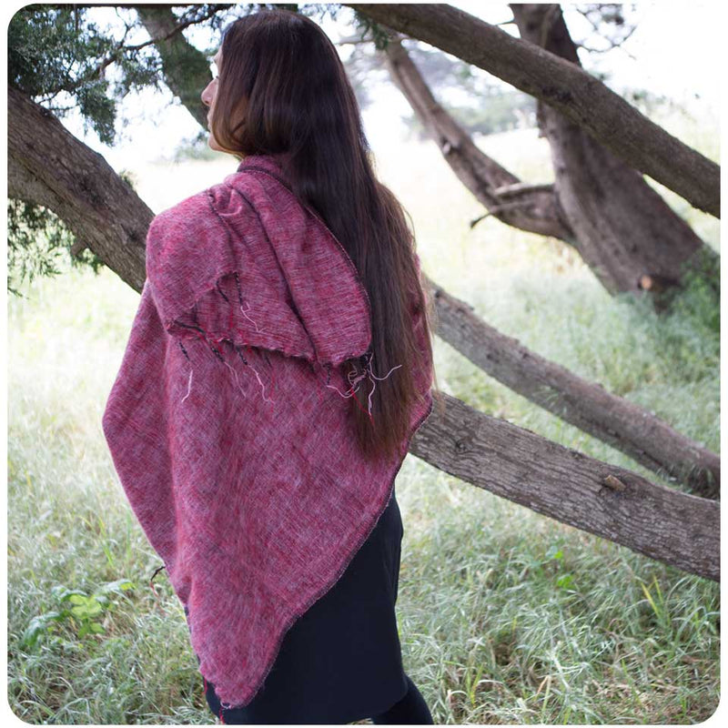 Brushed Woven Shawl in Pomegranate