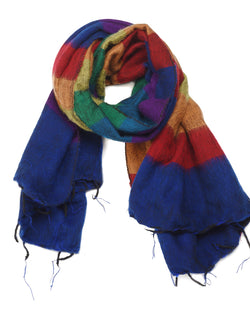 Brushed Woven Striped Shawl in Rainbow