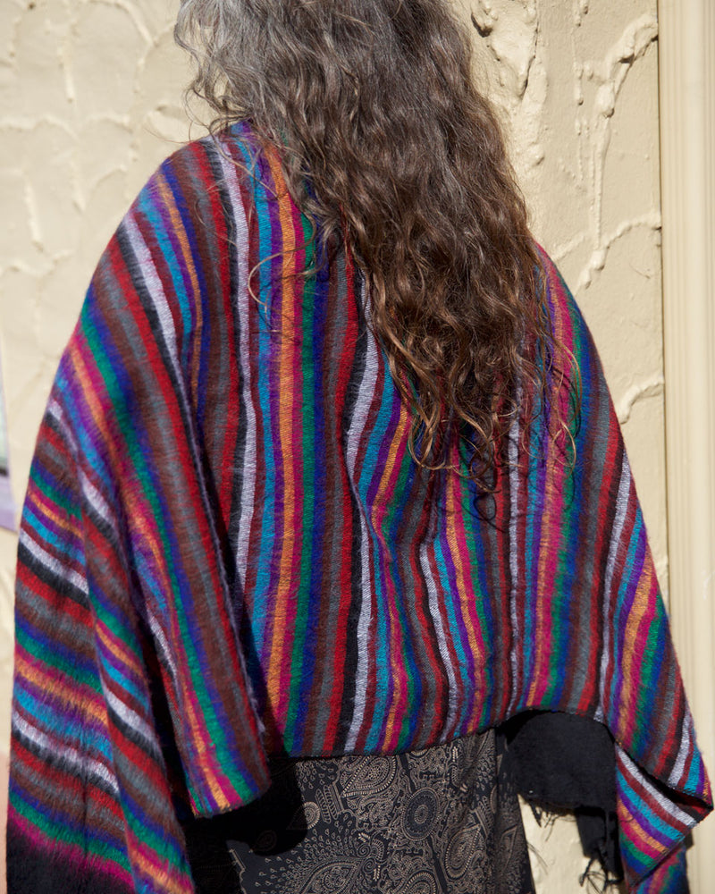 Multi Striped Brushed Woven Shawl