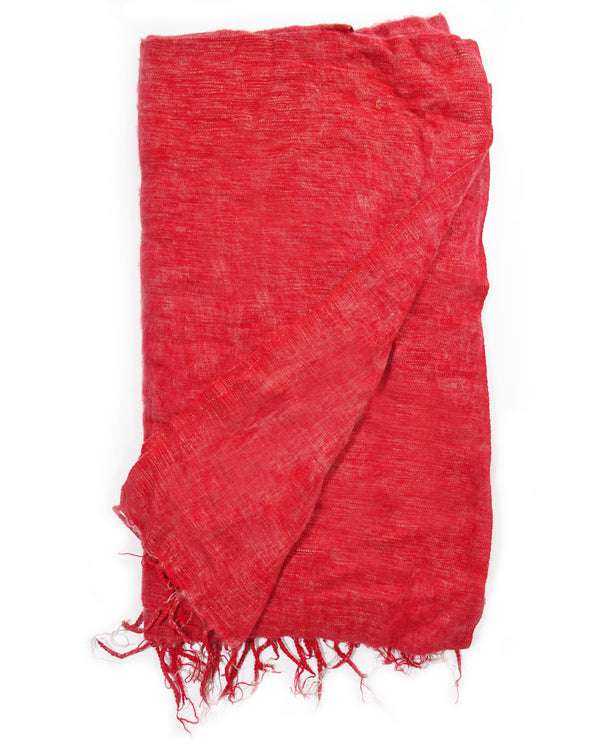 Brushed Woven Blanket in Dusty Red