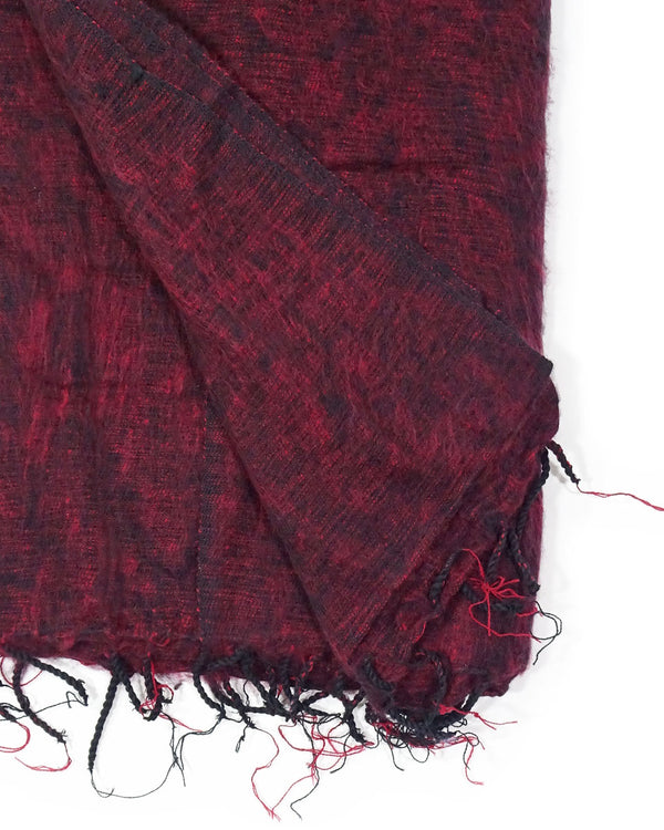 Brushed Woven Blanket in Maroon