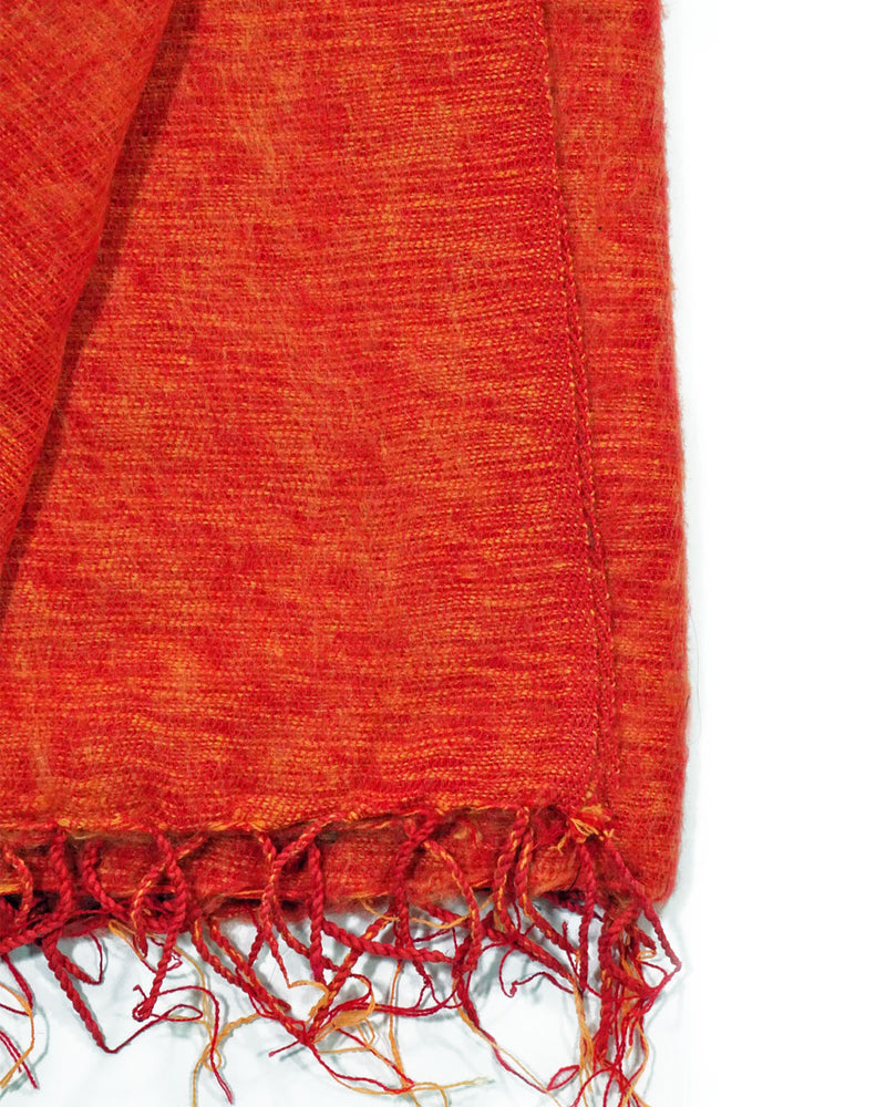 Brushed Woven Blanket in Orange