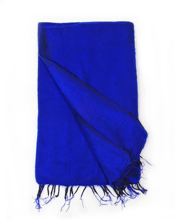 Brushed Woven Blanket in Royal Blue