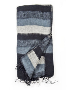 Brushed Woven Striped Blanket in Black