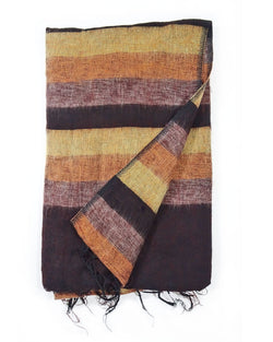 Brushed Woven Striped Blanket in Brown
