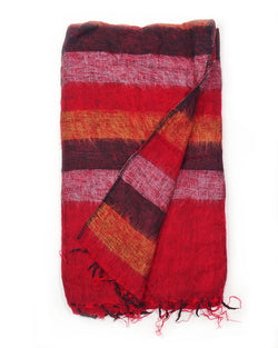 Brushed Woven Striped Blanket in Red