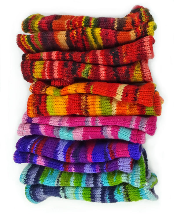 Multi-Striped Fingerless Gloves