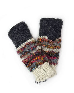 Wool and Silk Knit Fingerless Gloves