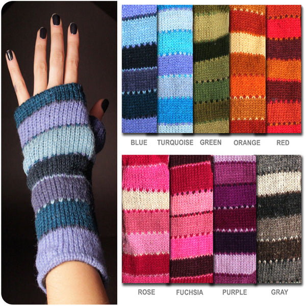 Wide-Stripe Fingerless Gloves