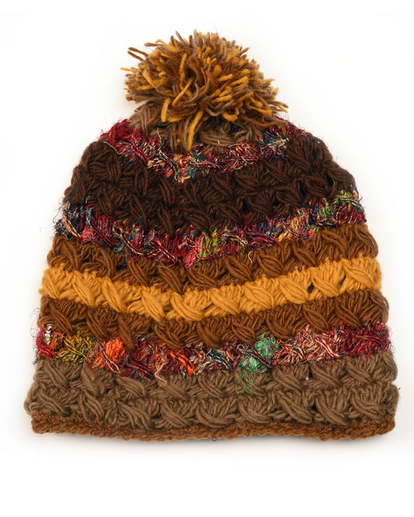 Crochet Beanie with Silk