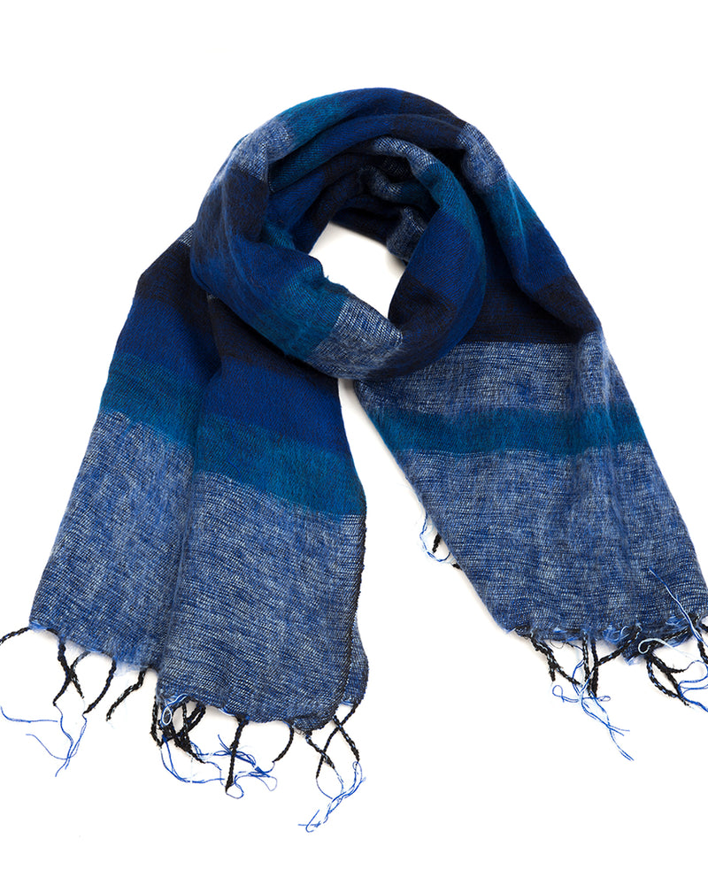 Brushed Woven Striped Shawl in Blue