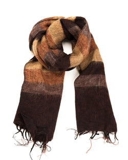 Brushed Woven Striped Shawl in Brown