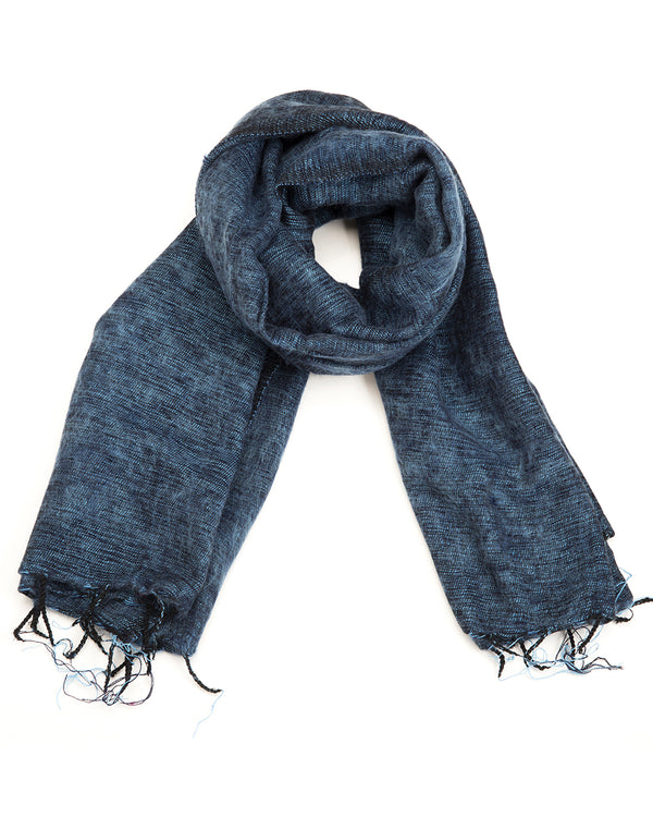 Brushed Woven Shawl in Denim