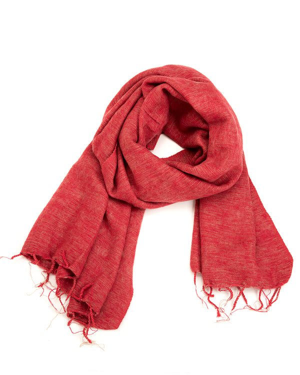 Brushed Woven Shawl in Dusty Red