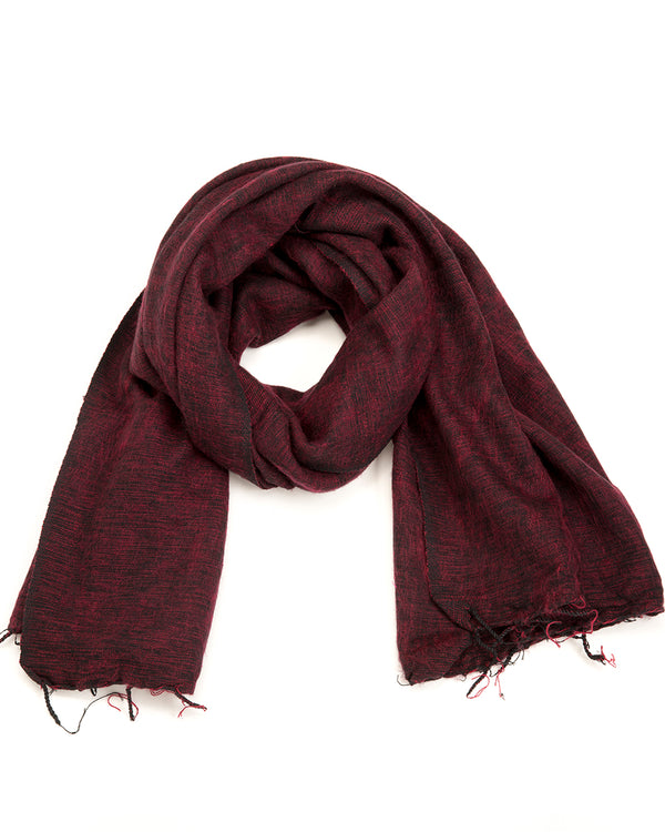 Brushed Woven Shawl in Maroon