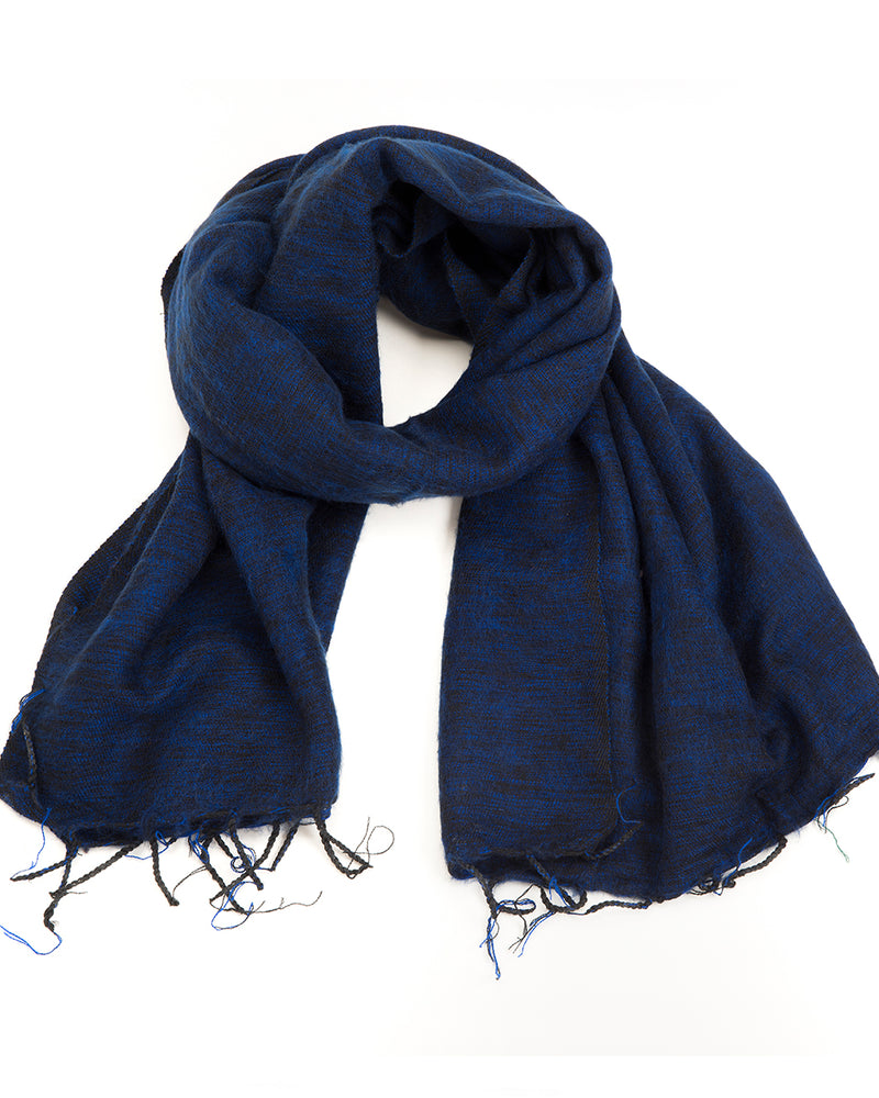 Brushed Woven Shawl in Navy Blue