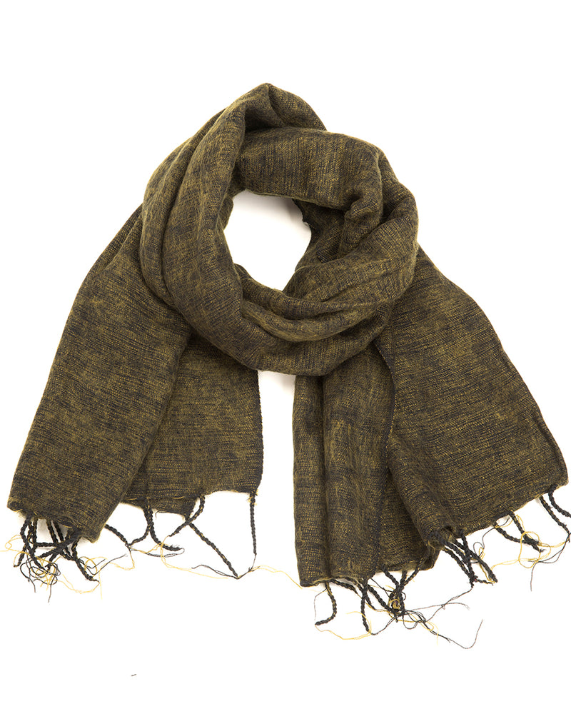 Brushed Woven Shawl in Olive