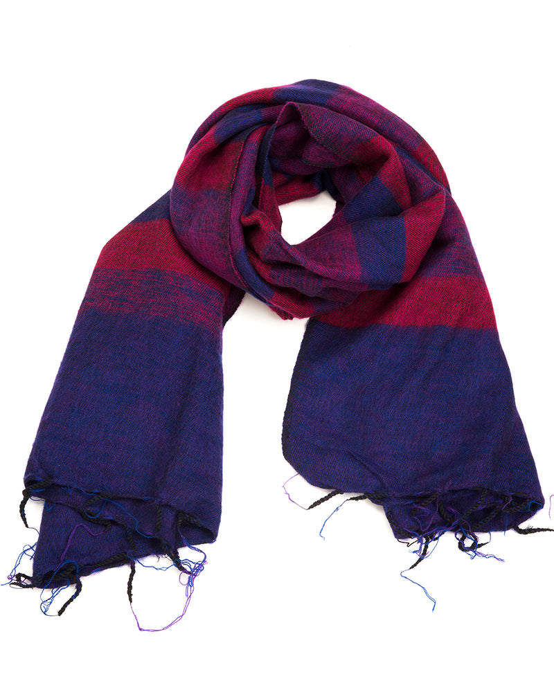 Brushed Woven Striped Shawl in Purple