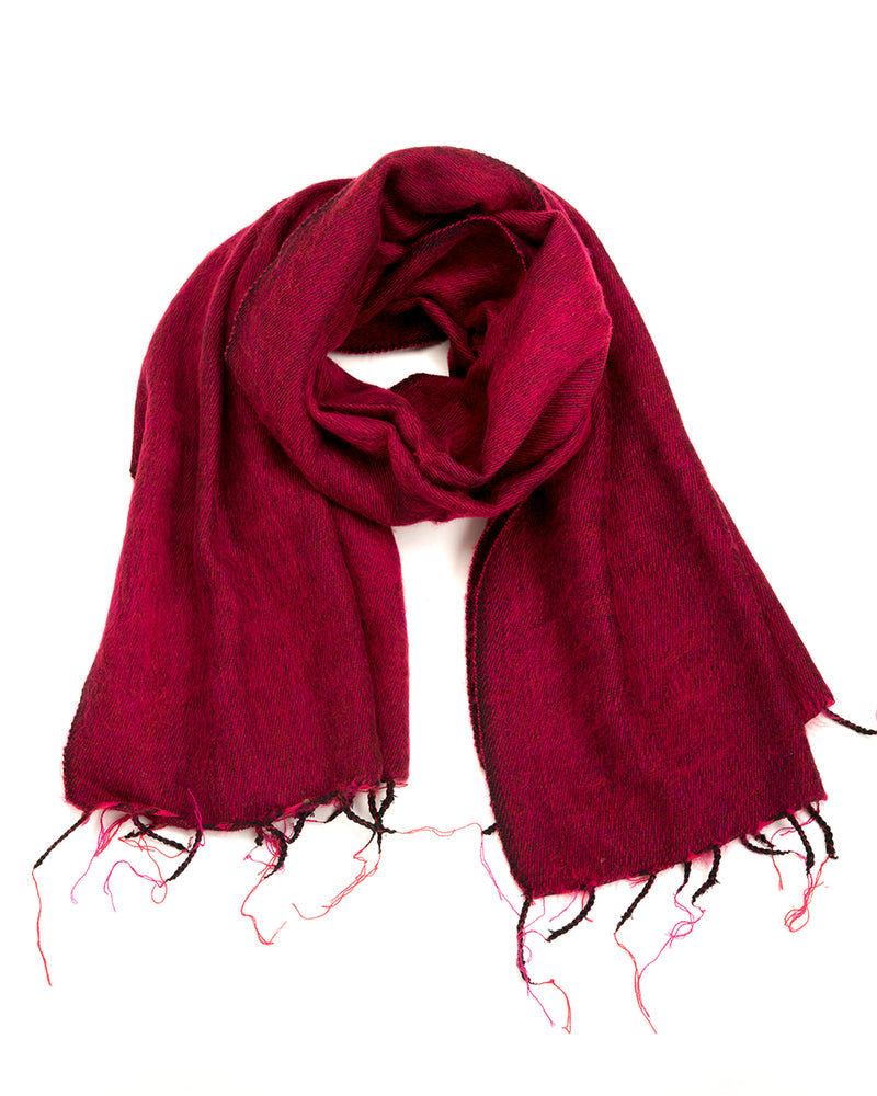 Brushed Woven Shawl in Raspberry
