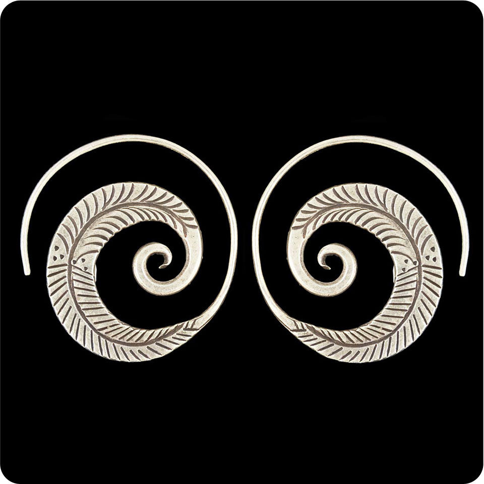 Tribal Earring - Feathered Spiral