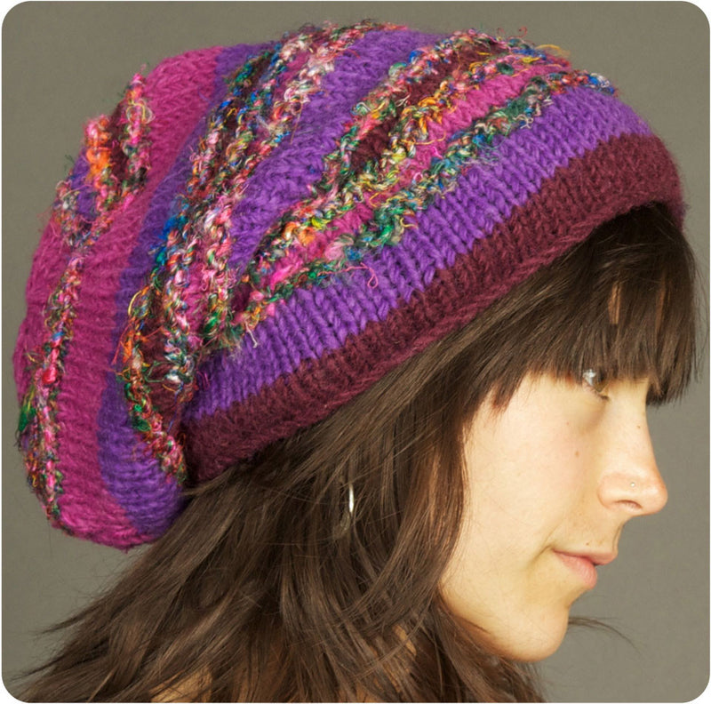 Slouchy Beanie with Silk Sari