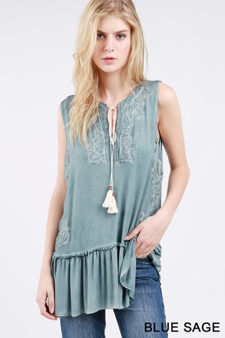 Hudson Ruffled Top Blue Sage