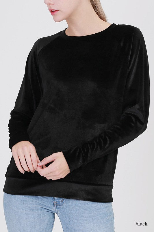 HENSLEY VELVET TOP - BLACK