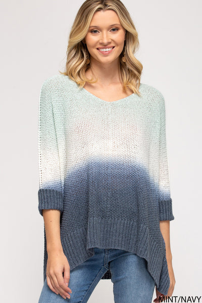 Rylee Ombre Sweater - Navy
