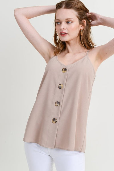 It's Just Me Button Front Cami - Taupe