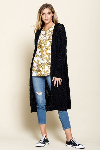 Better With You Popcorn Cardigan - Black