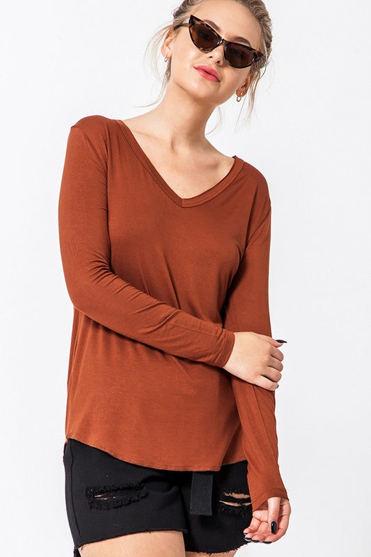 Not So Basic V-Neck Top - Brown