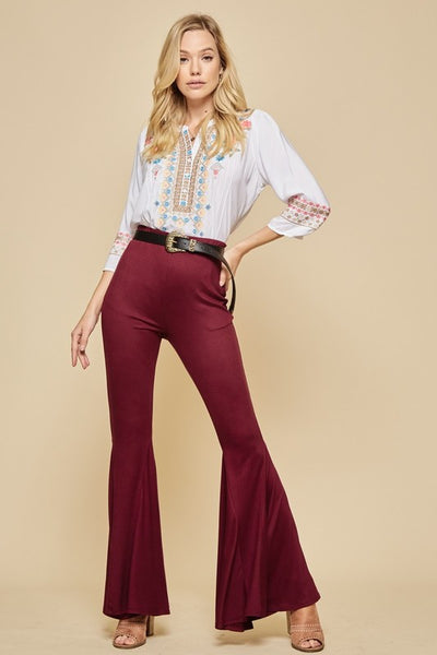 Keep The Groove Flare Pants - Burgundy