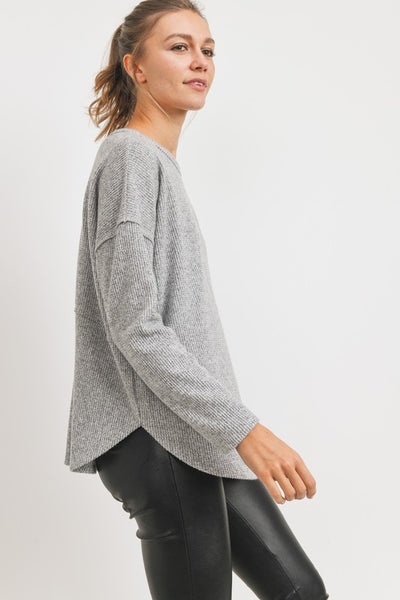 Far From Falling Criss Cross Back Top - Gray