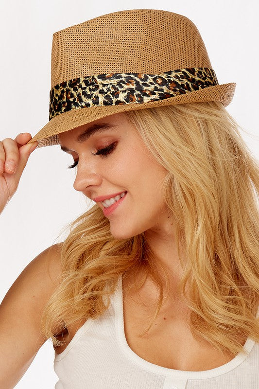 Straw Fedora With Leopard Band