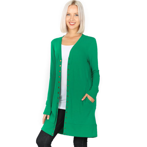 Buttoned Up Solid Cardigan - Green