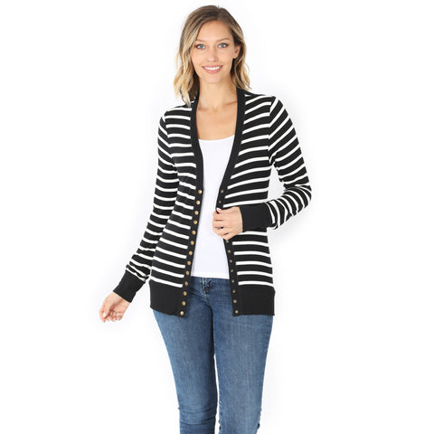 Buttoned Up Striped Cardigan - Black