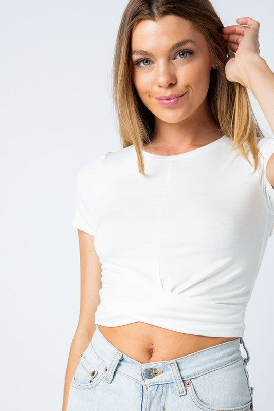 Ella Twist Front Top - Ivory