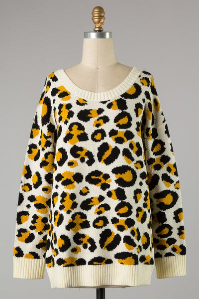 On the Edge Leopard Open Back Sweater