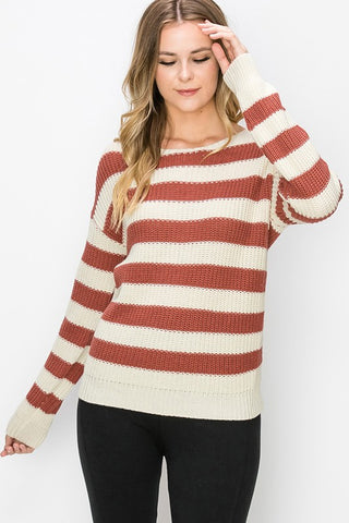 More Than Friends Stripe Sweater - Marsala