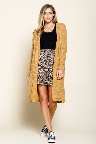 Better With You Popcorn Cardigan - Mustard