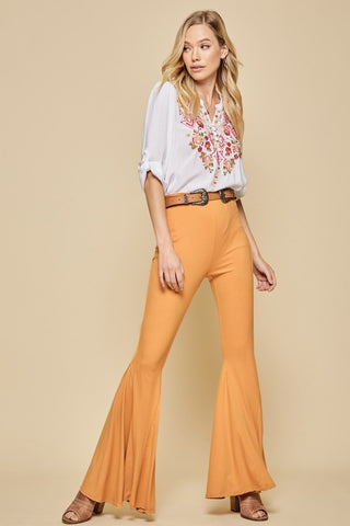 Keep The Groove Flare Pants - Mustard