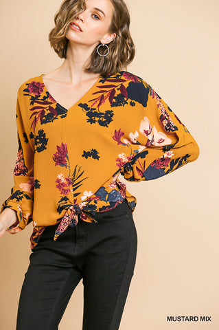 Alison Floral Tie Front Top - Mustard