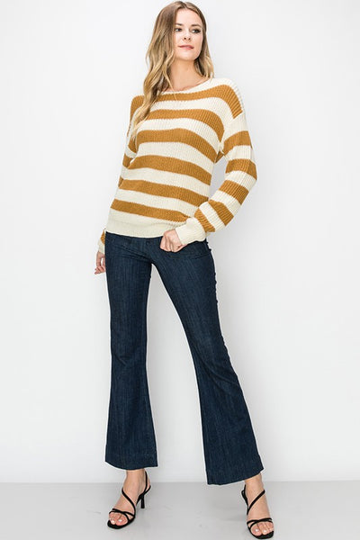 More Than Friends Stripe Sweater - Mustard
